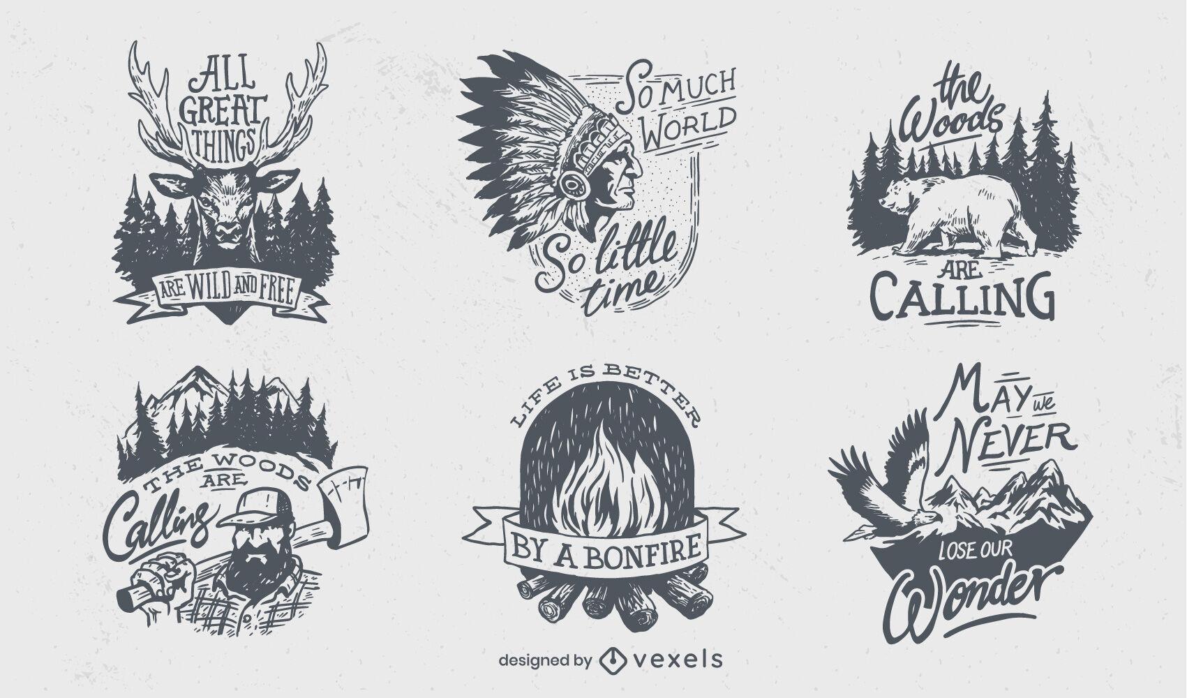 Conjunto de emblemas desenhados à mão para acampar ao ar livre