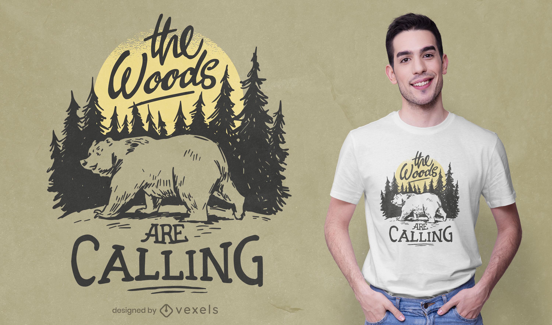 Diseño de camiseta de oso animal en el bosque naturaleza