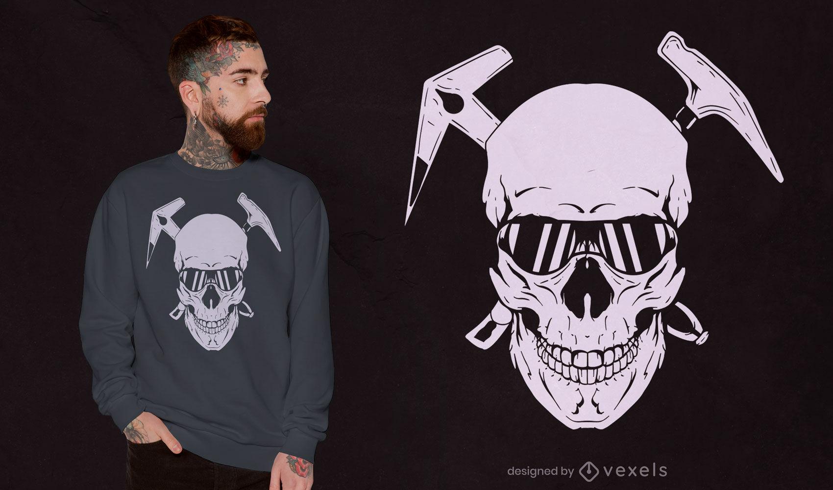 Crânio com design de t-shirt recortado de ferramentas