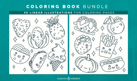 Cute food coloring book design pages