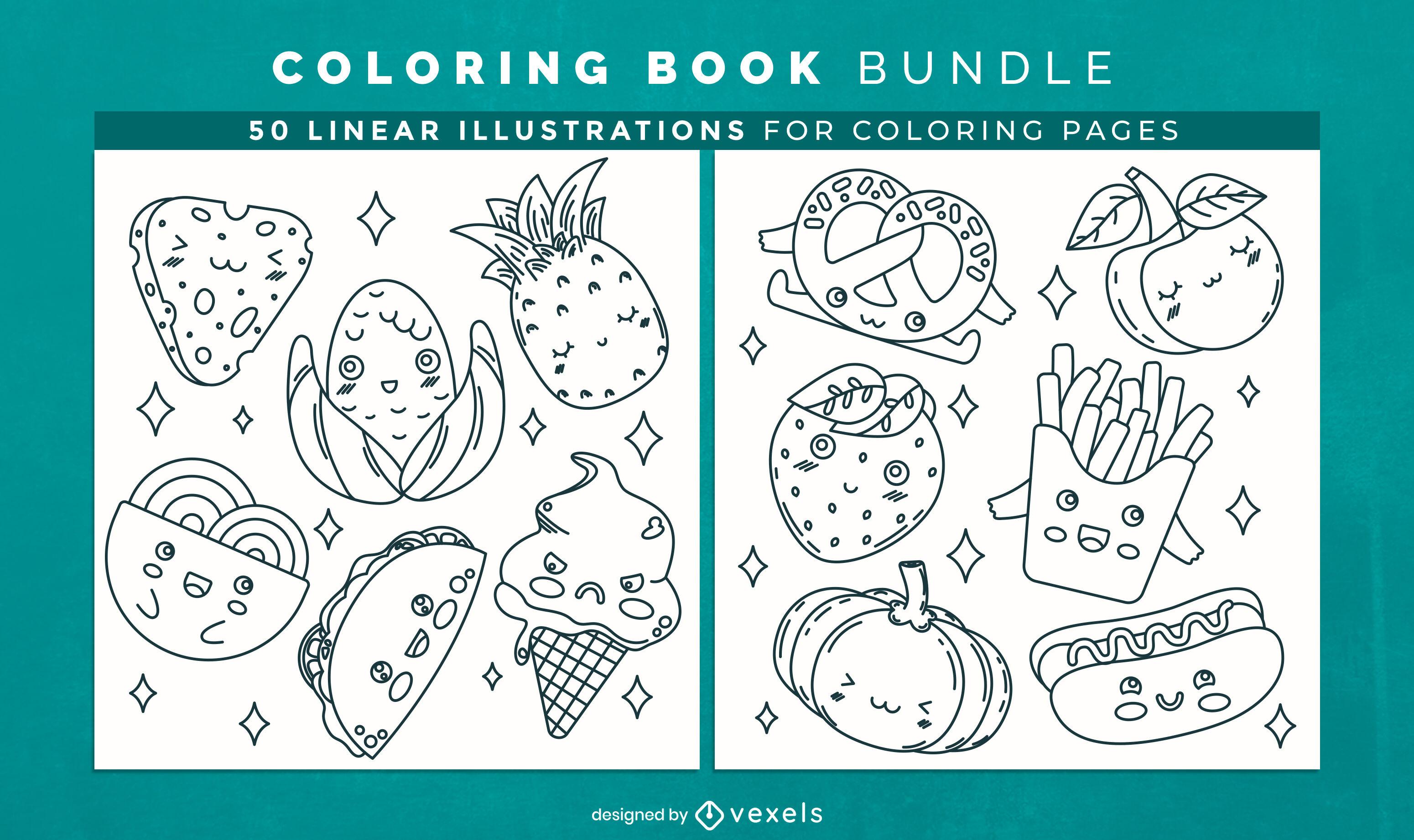 Lindas páginas de desenhos de livros para colorir de comida