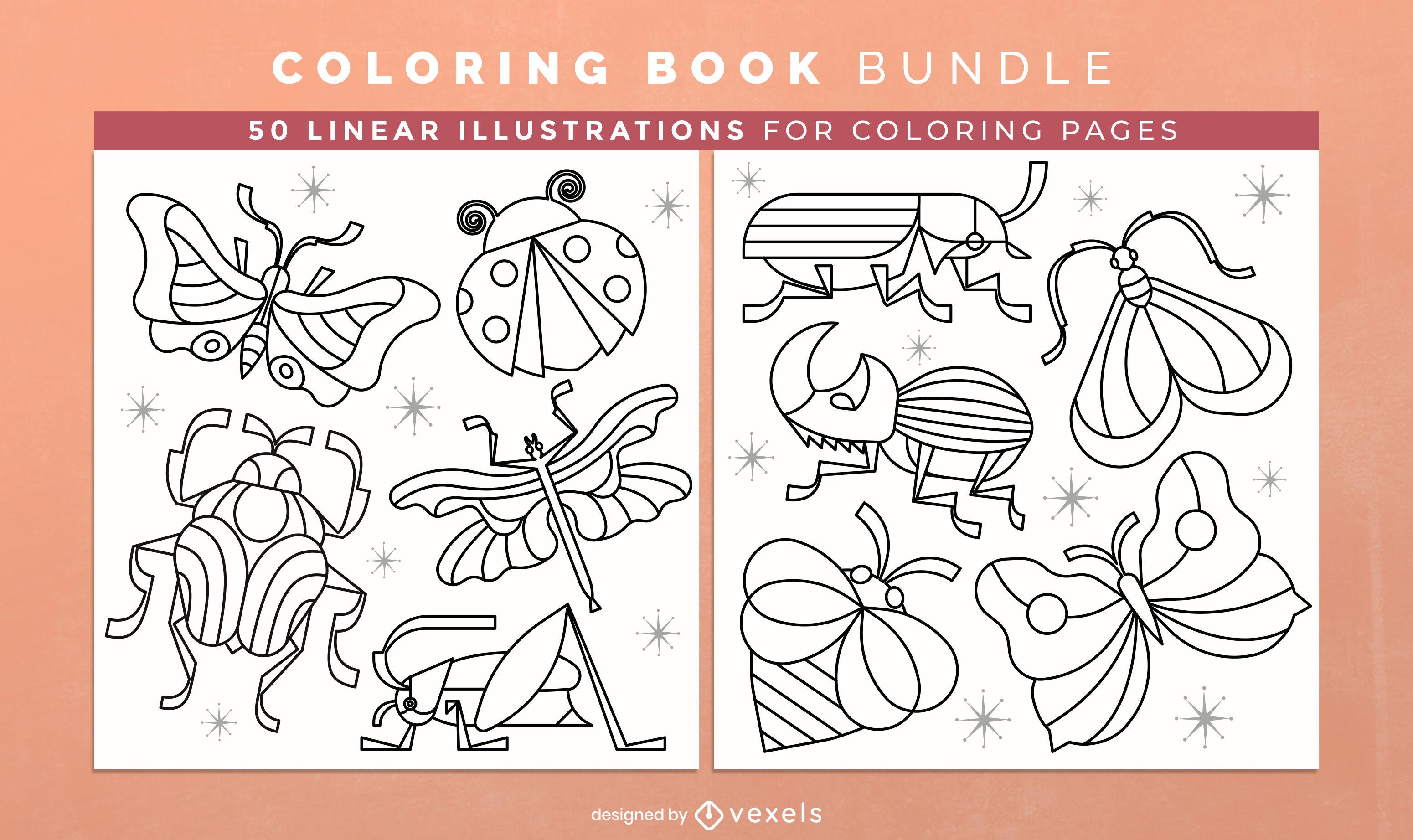 Livro para colorir de insetos KDP design de interiores