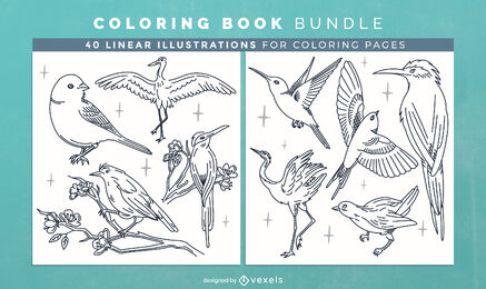 Bird animals coloring book pages design