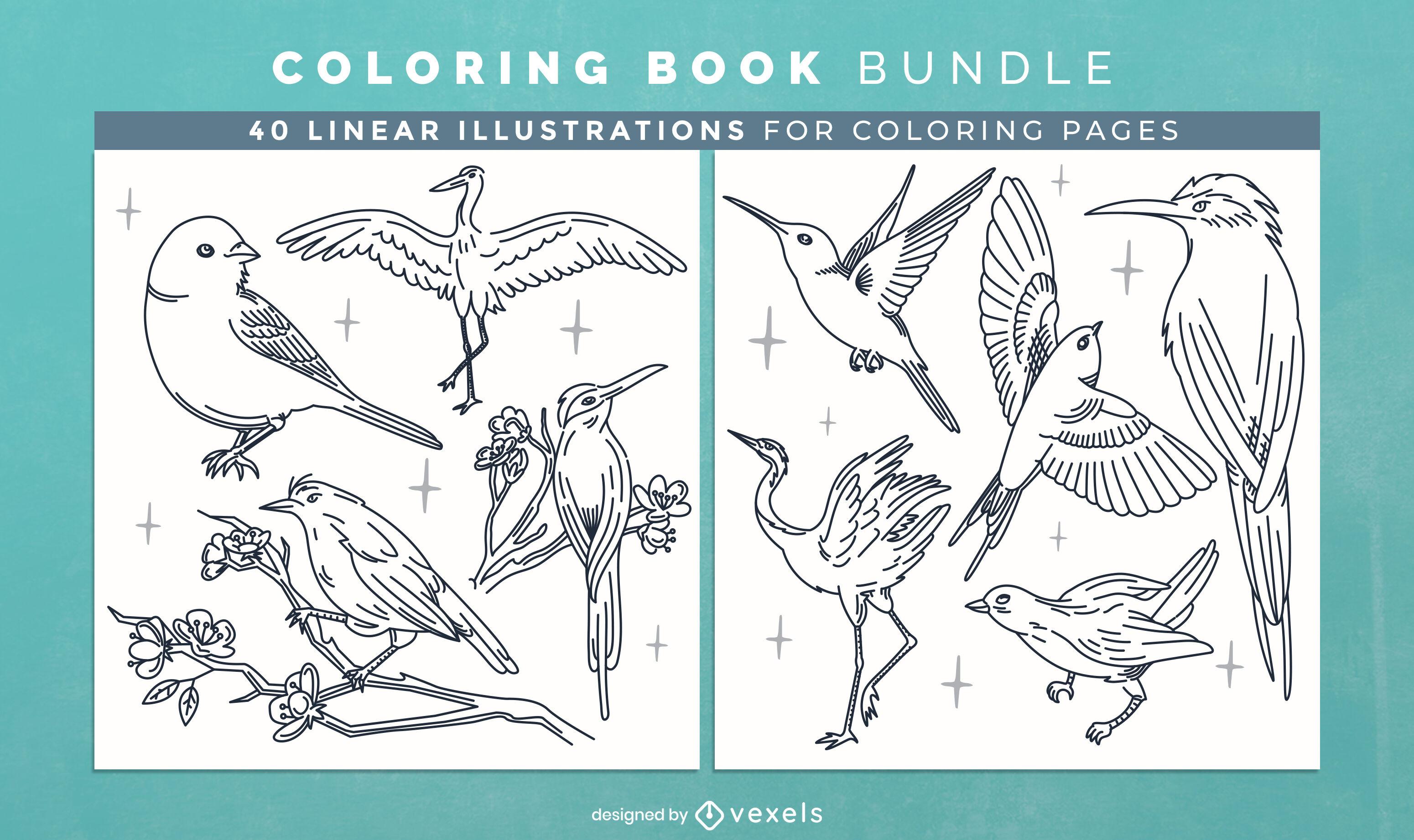 Dise?o de p?ginas de libro para colorear de animales de aves