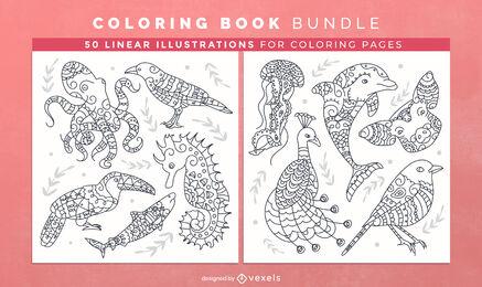 Animal mandala coloring book design pages