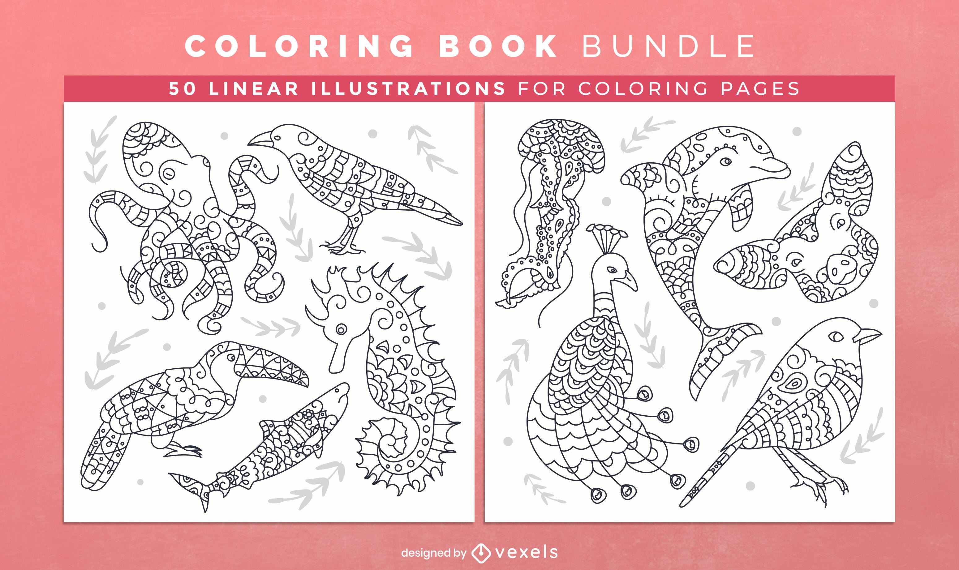 Páginas de desenho de livro para colorir de mandala animal