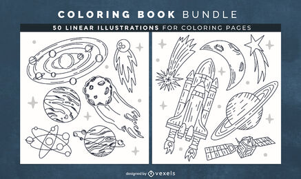Space elements coloring book design pages
