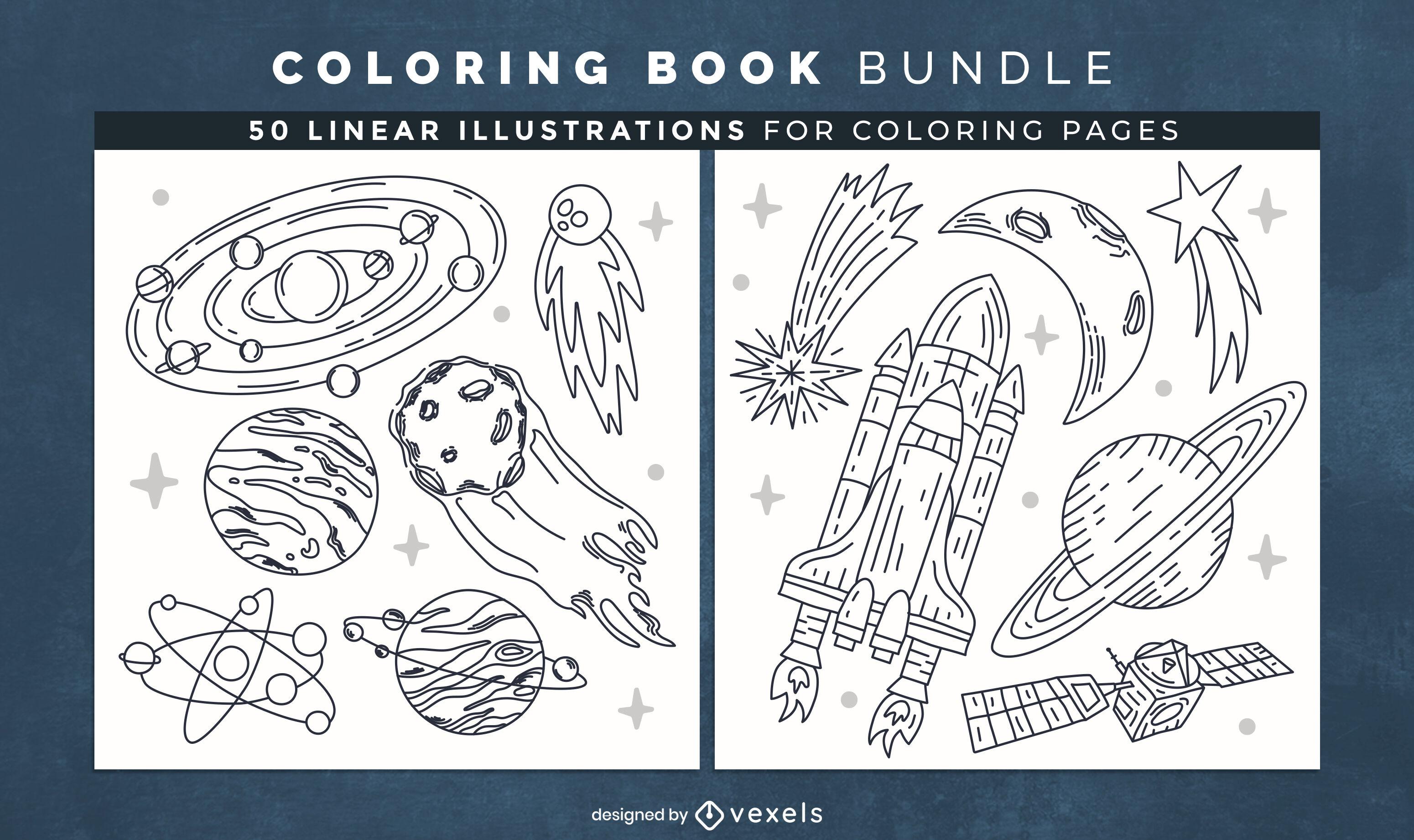 Elementos do espaço para colorir páginas de design de livros