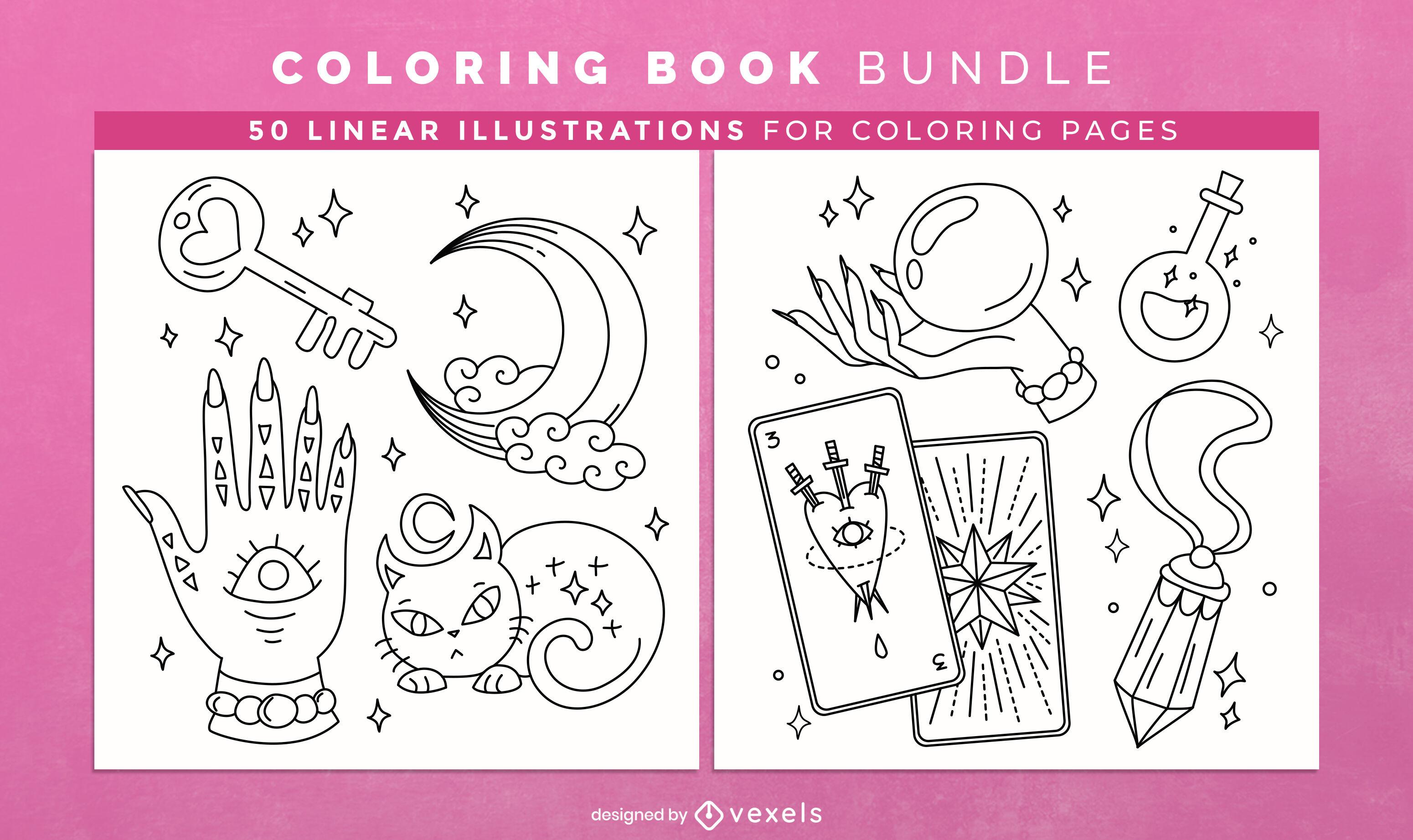 Diseño de páginas de libro para colorear de bruja mágica