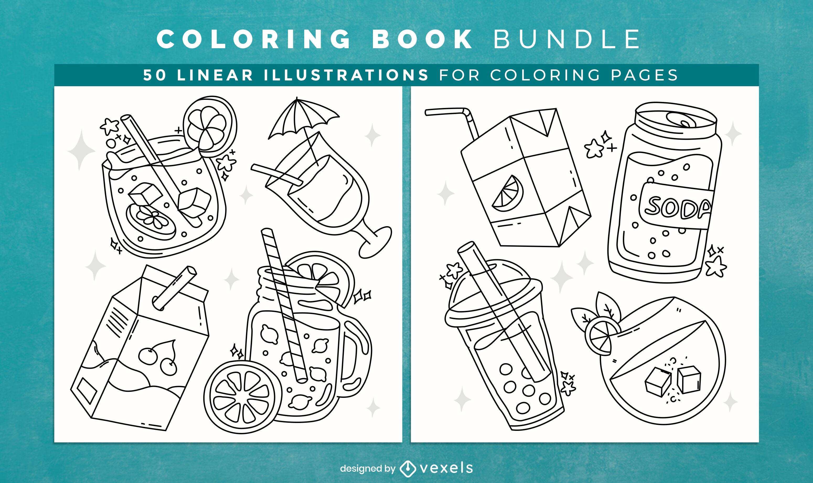 Design de interiores de livros para colorir de bebidas