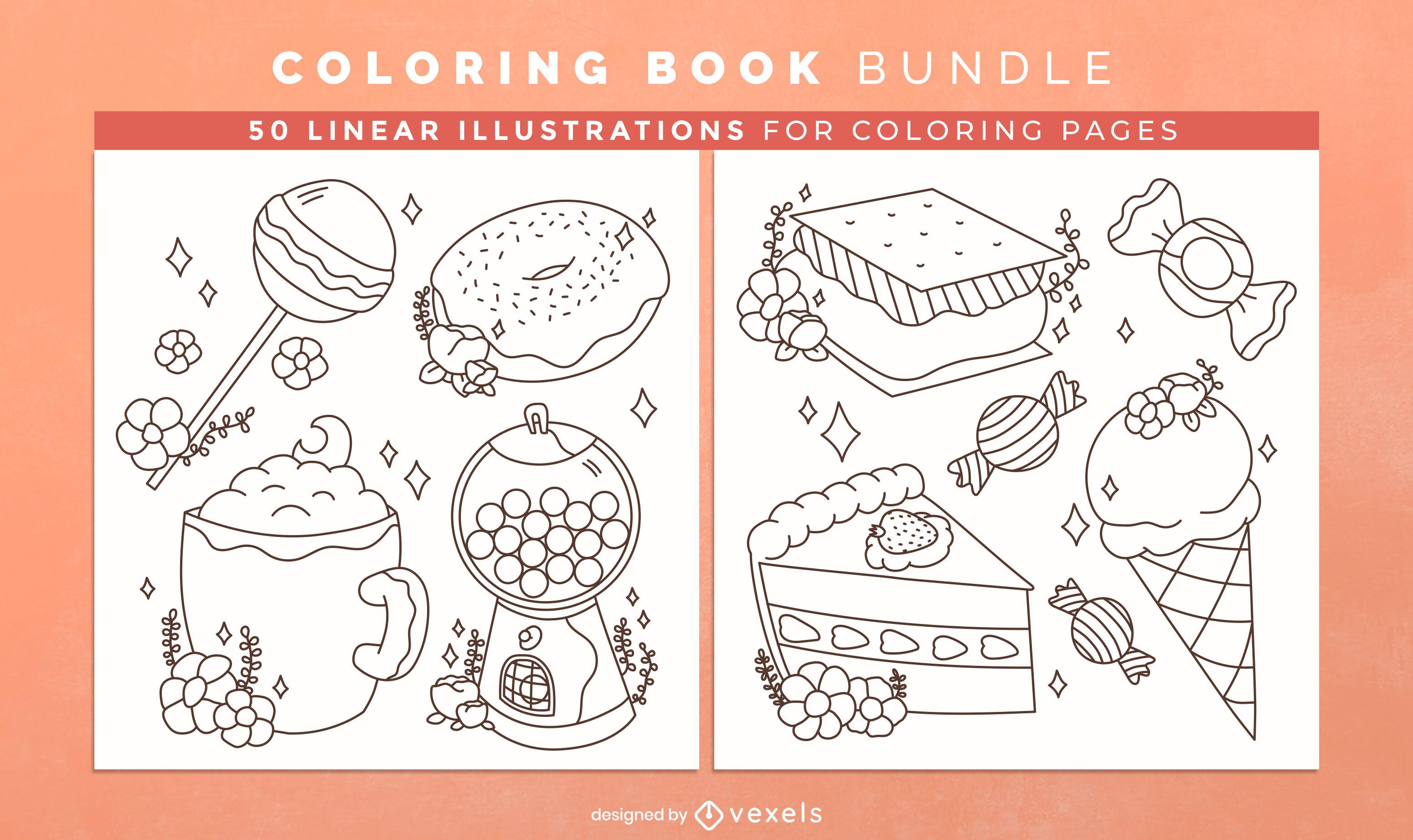 Design de interiores de livro para colorir com alimentos doces