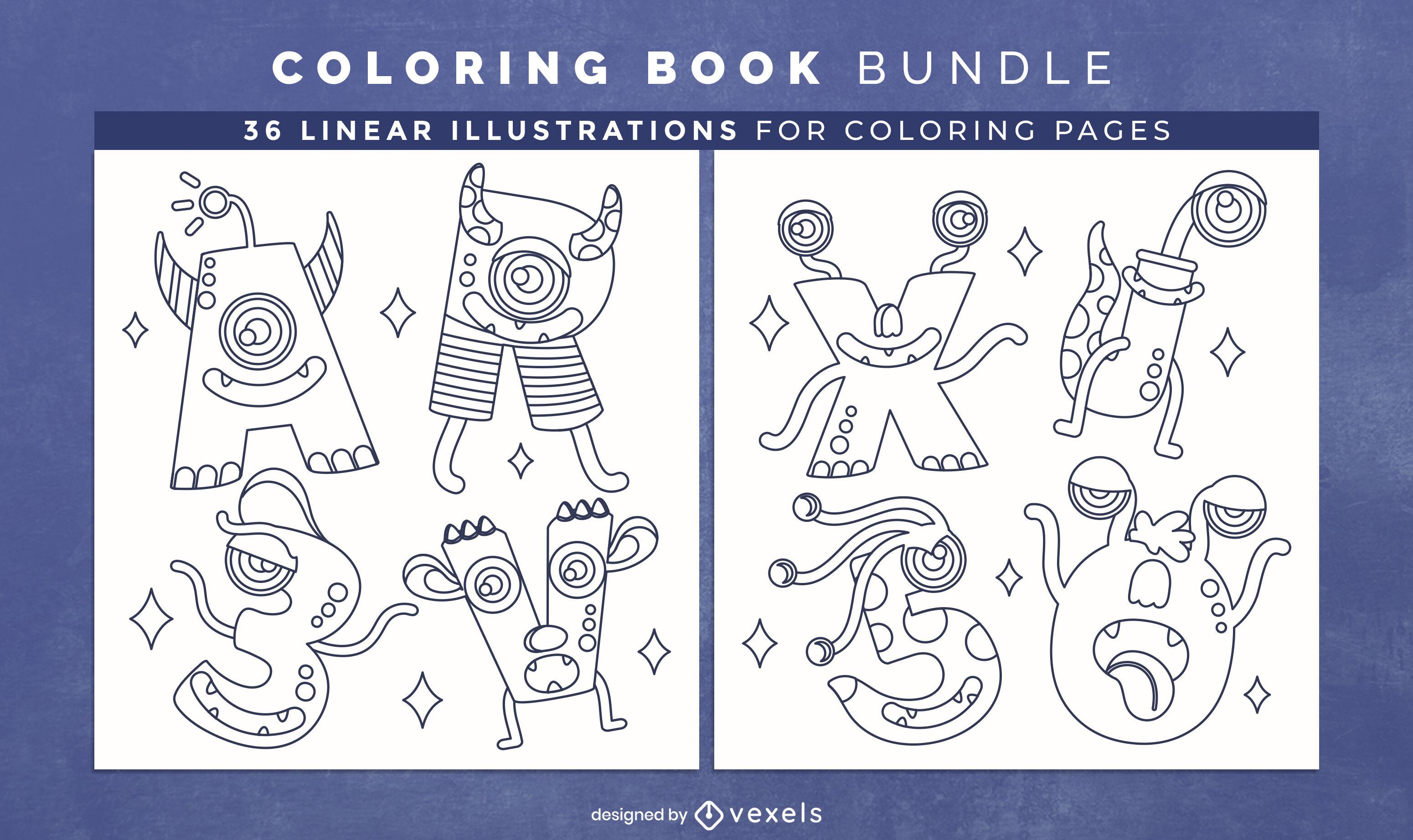 Páginas de desenho de livro para colorir com alfabeto monstro