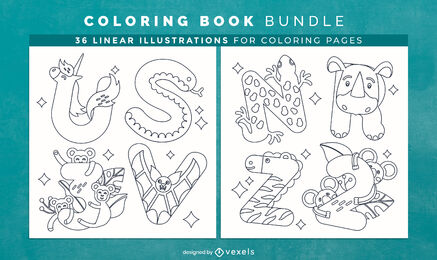 Animal alphabet coloring book pages design