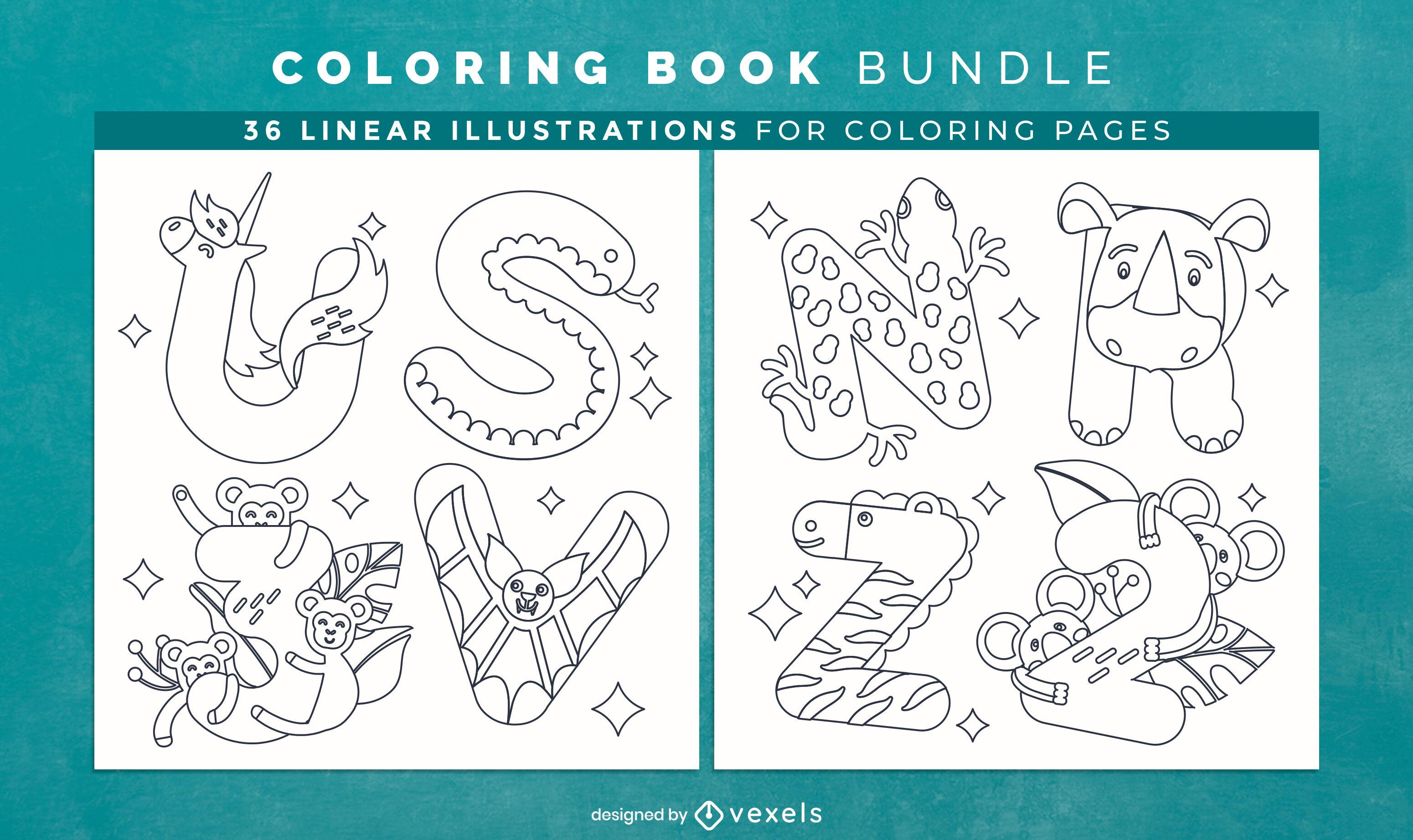 Desenho de páginas de livro para colorir com alfabeto animal