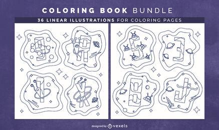 Espacio alfabeto libro para colorear diseño de interiores