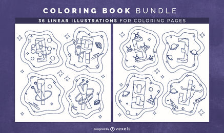 Space alphabet coloring book interior design