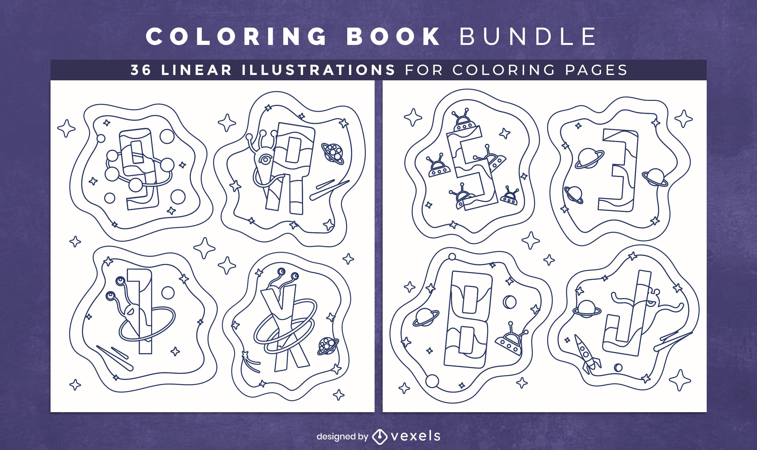 Design de interiores de livro para colorir com alfabeto espacial