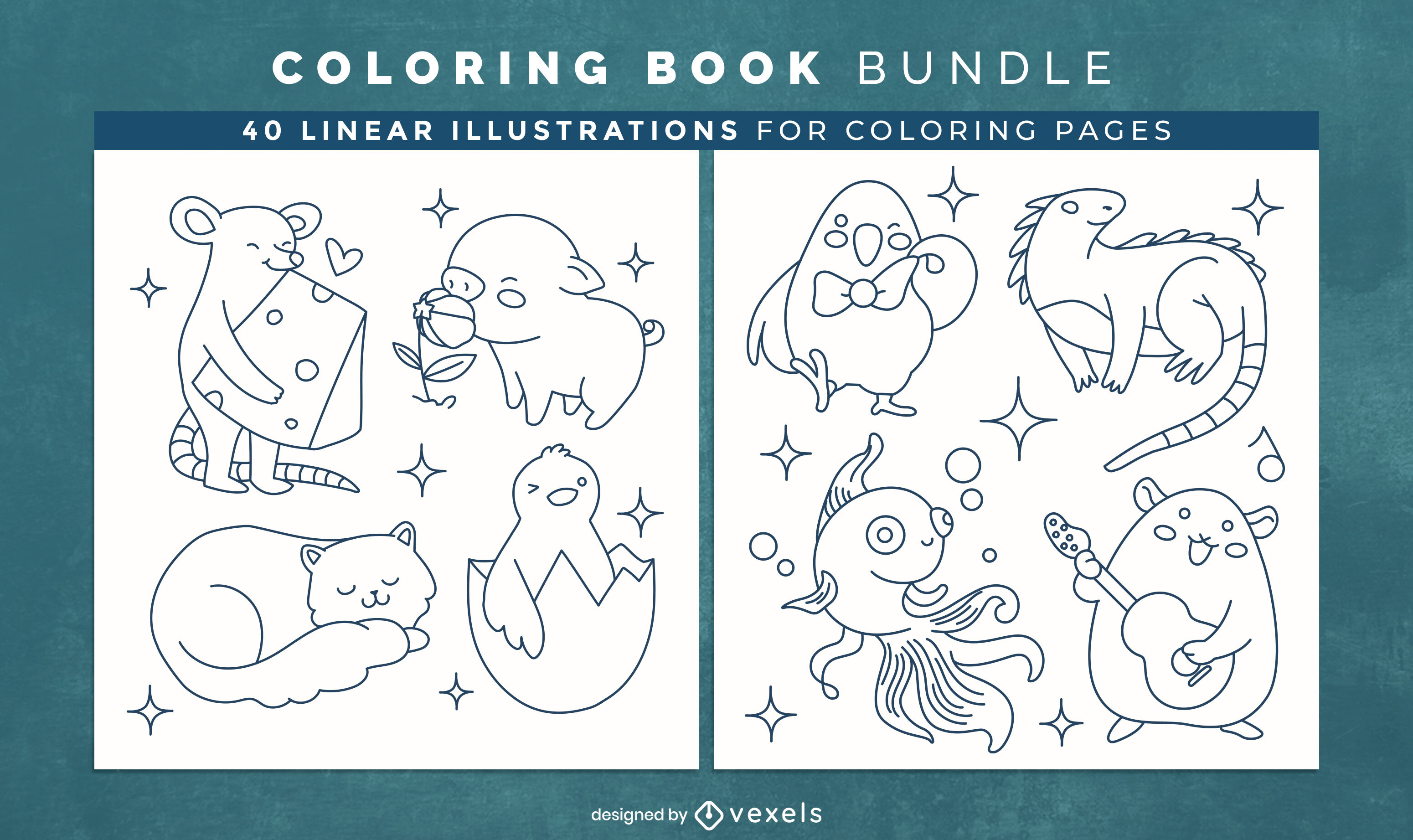 Baby animals coloring book interior design