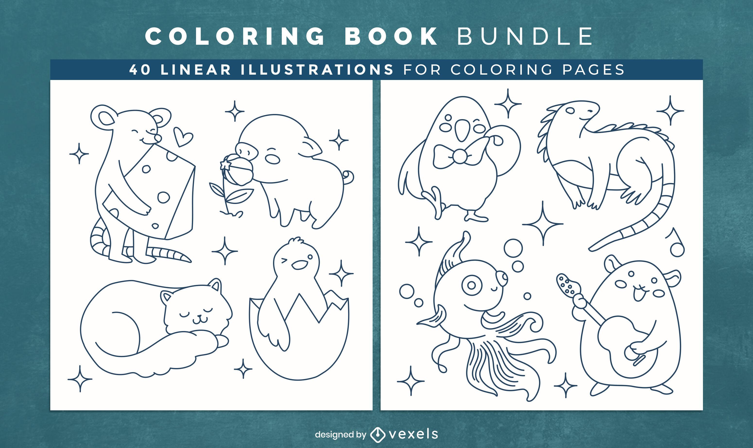 Dise?o de interiores de libro para colorear de animales beb?s