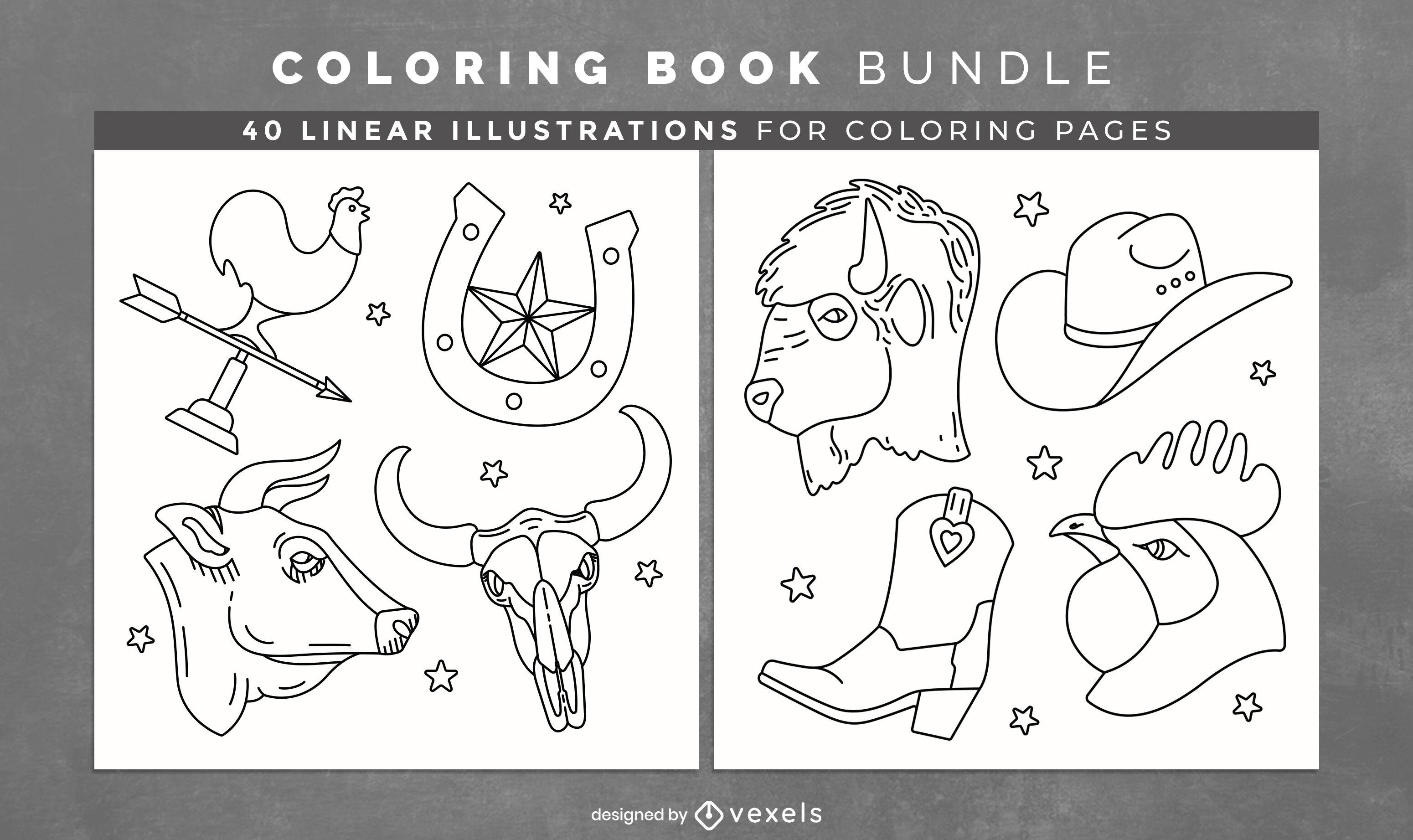 Páginas de design de livro para colorir de Cowboy Ranch