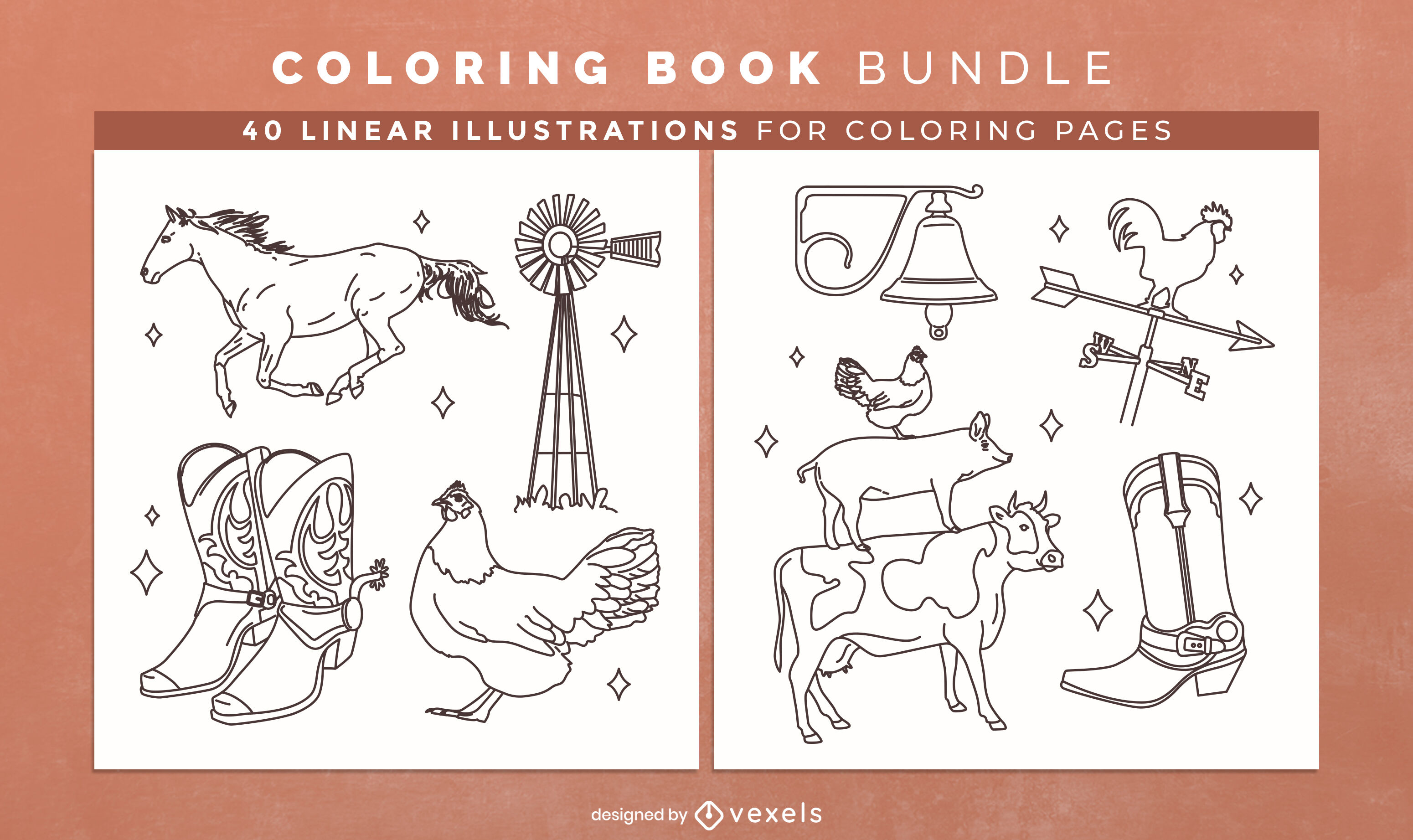 Farm animals coloring book design pages