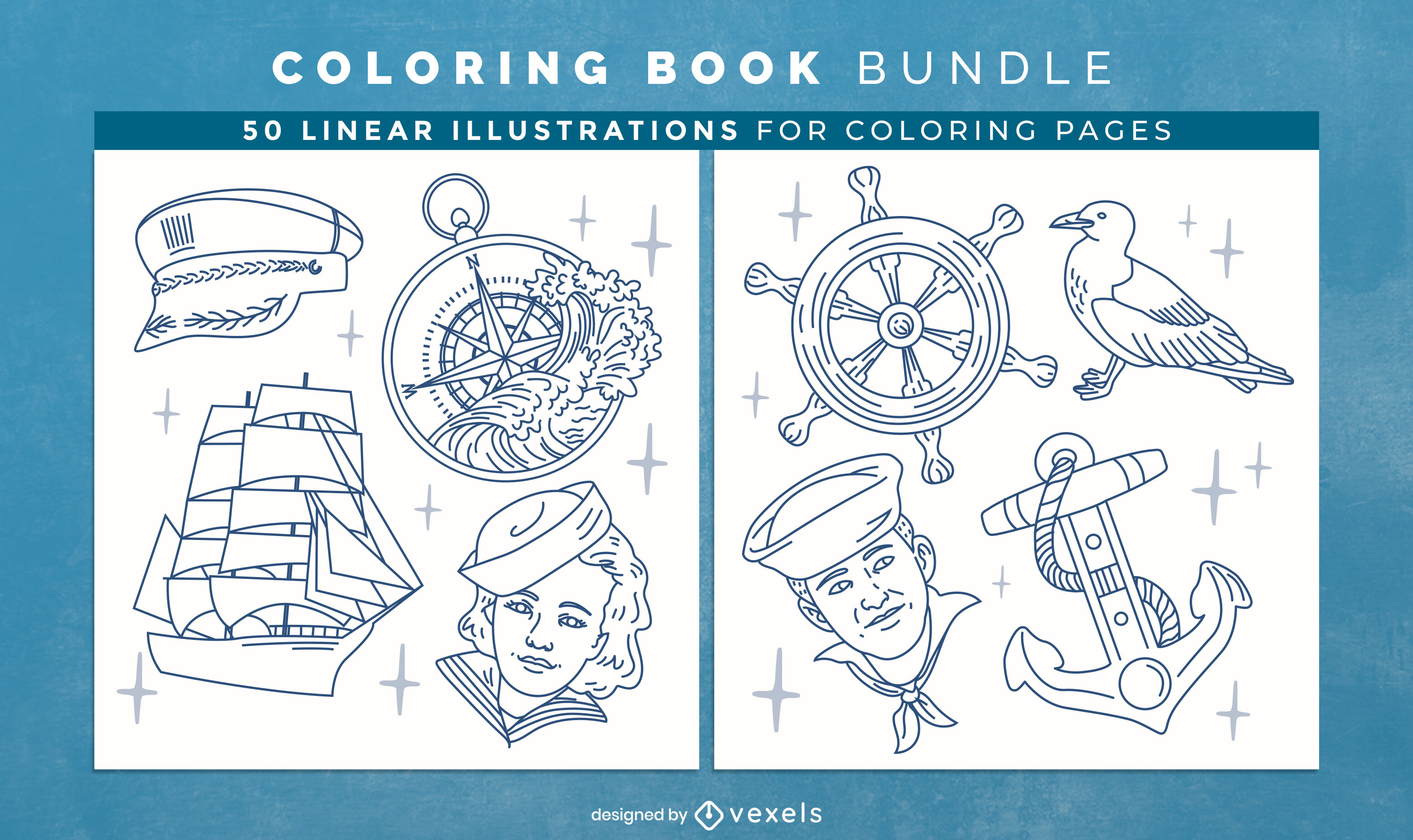 Nautical coloring book design pages