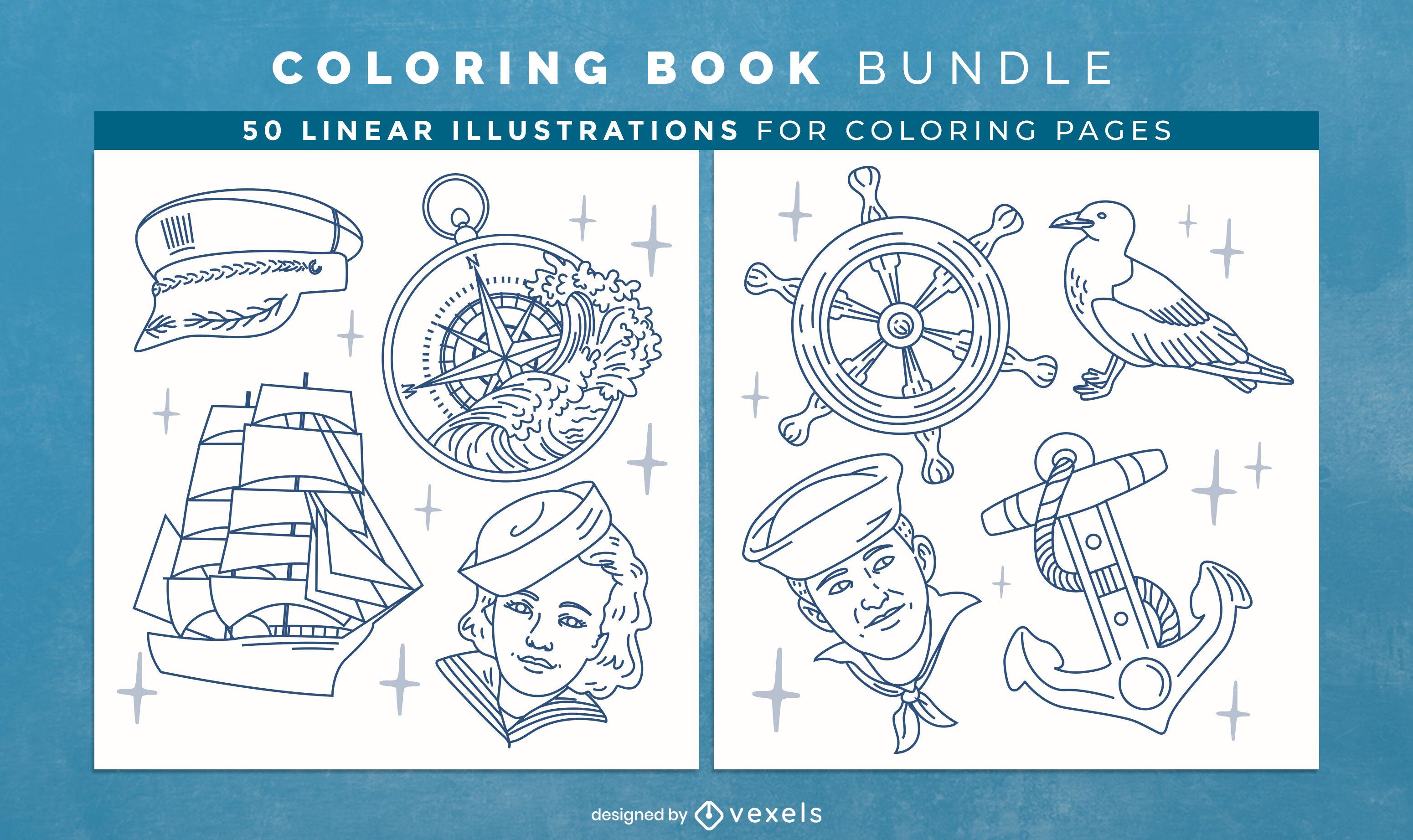 Páginas de design de livro para colorir náutico