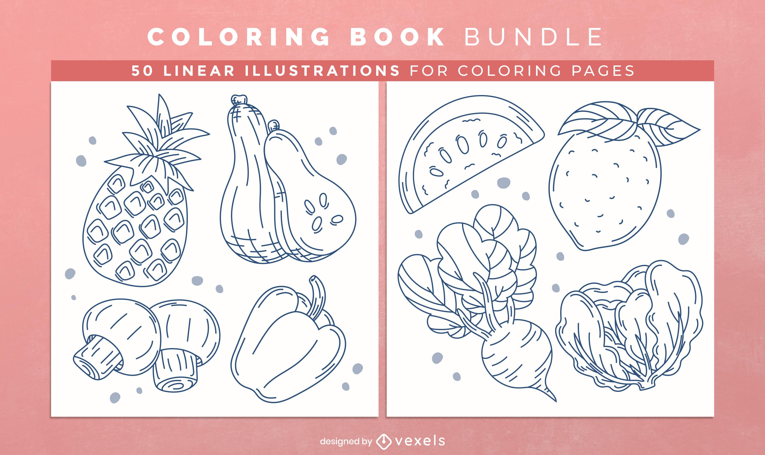 Diseño de interiores de libro de colorear de frutas y verduras