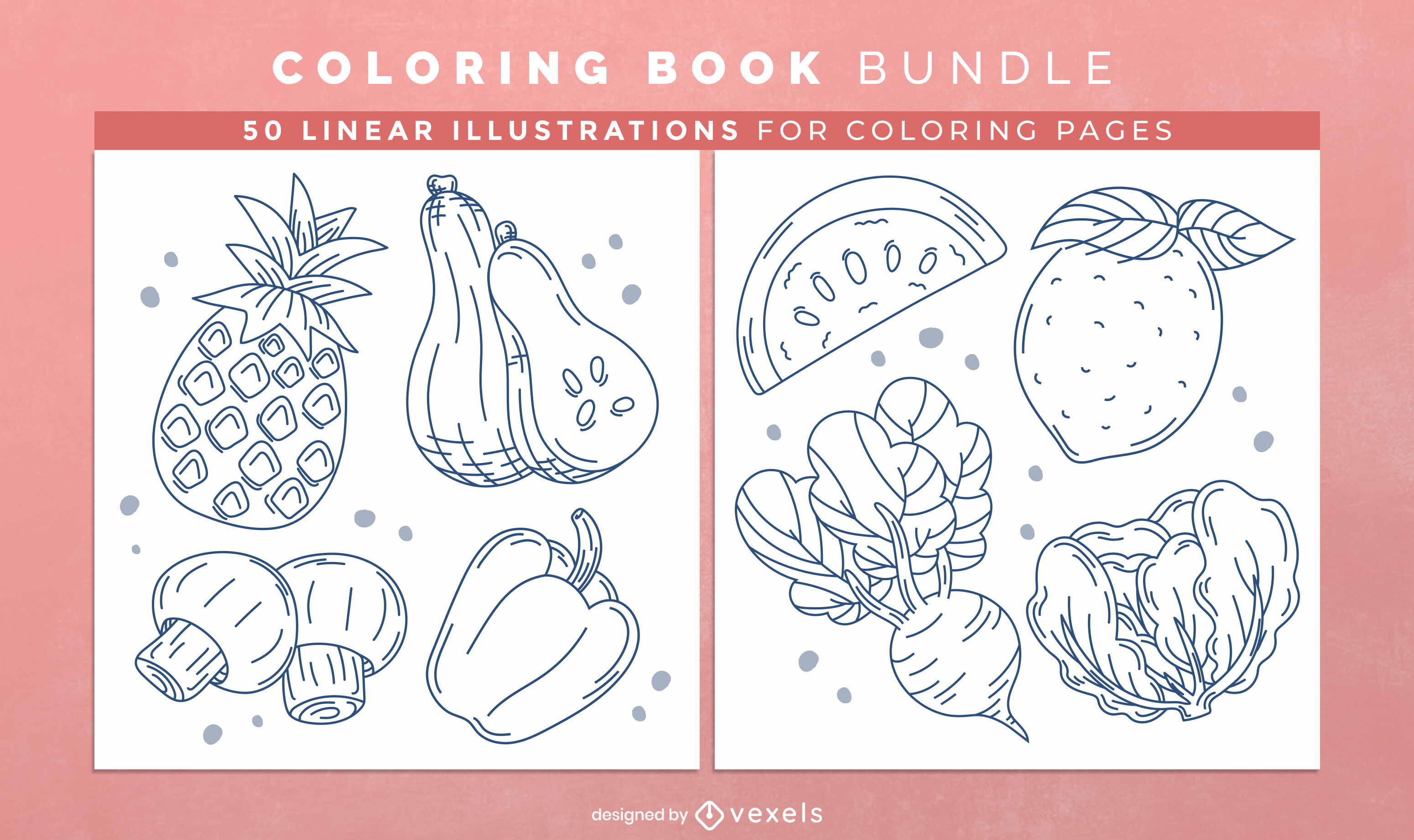 Fruit and vegetables coloring book interior design