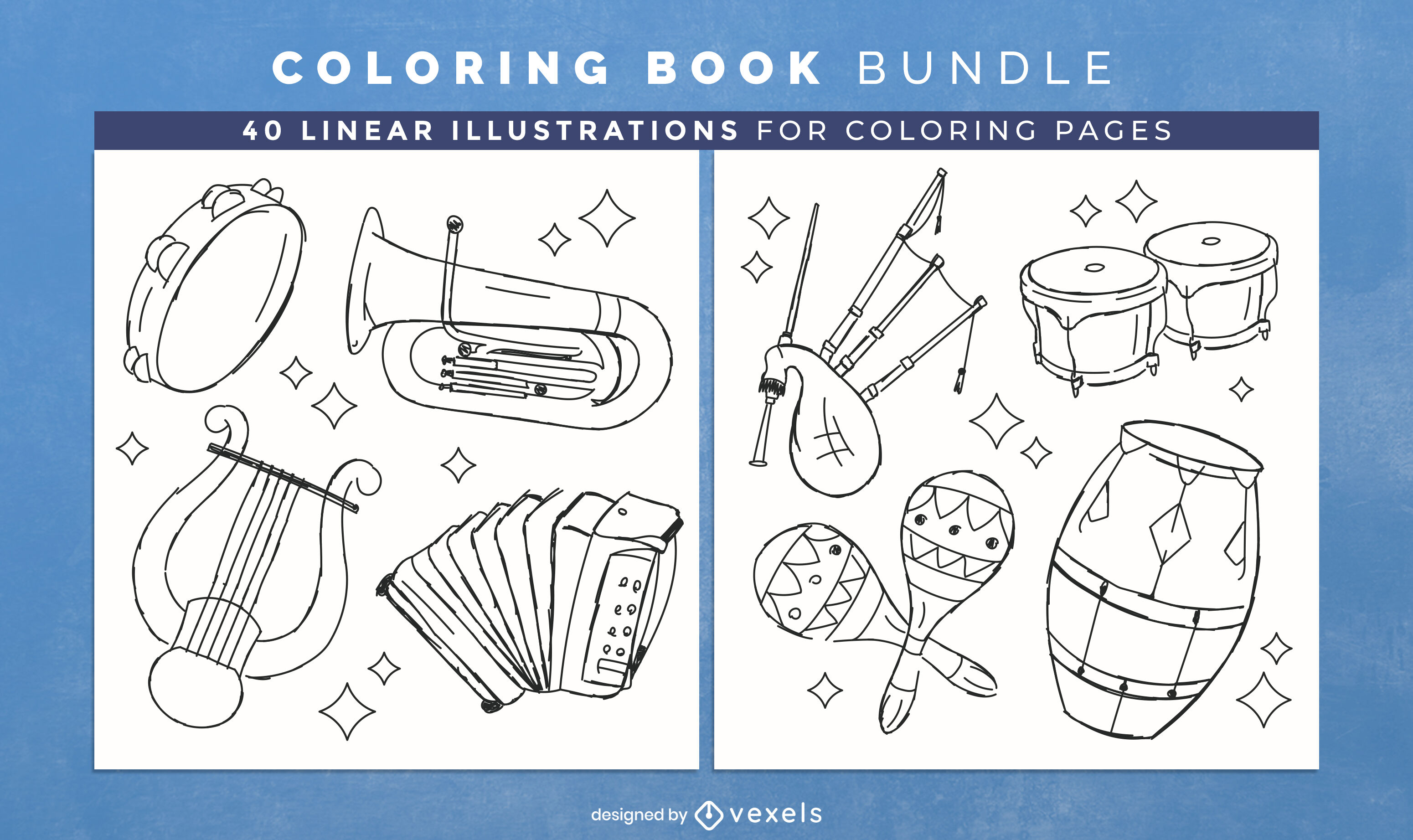 Music instruments coloring book interior design
