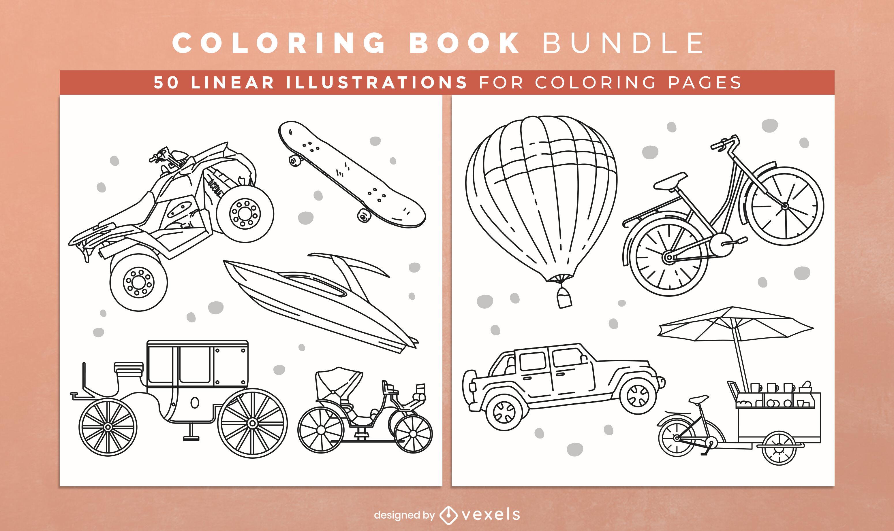 Livro de colorir de transporte KDP design de interiores