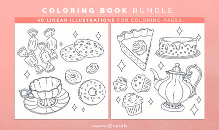 Tea time sweets coloring book design pages