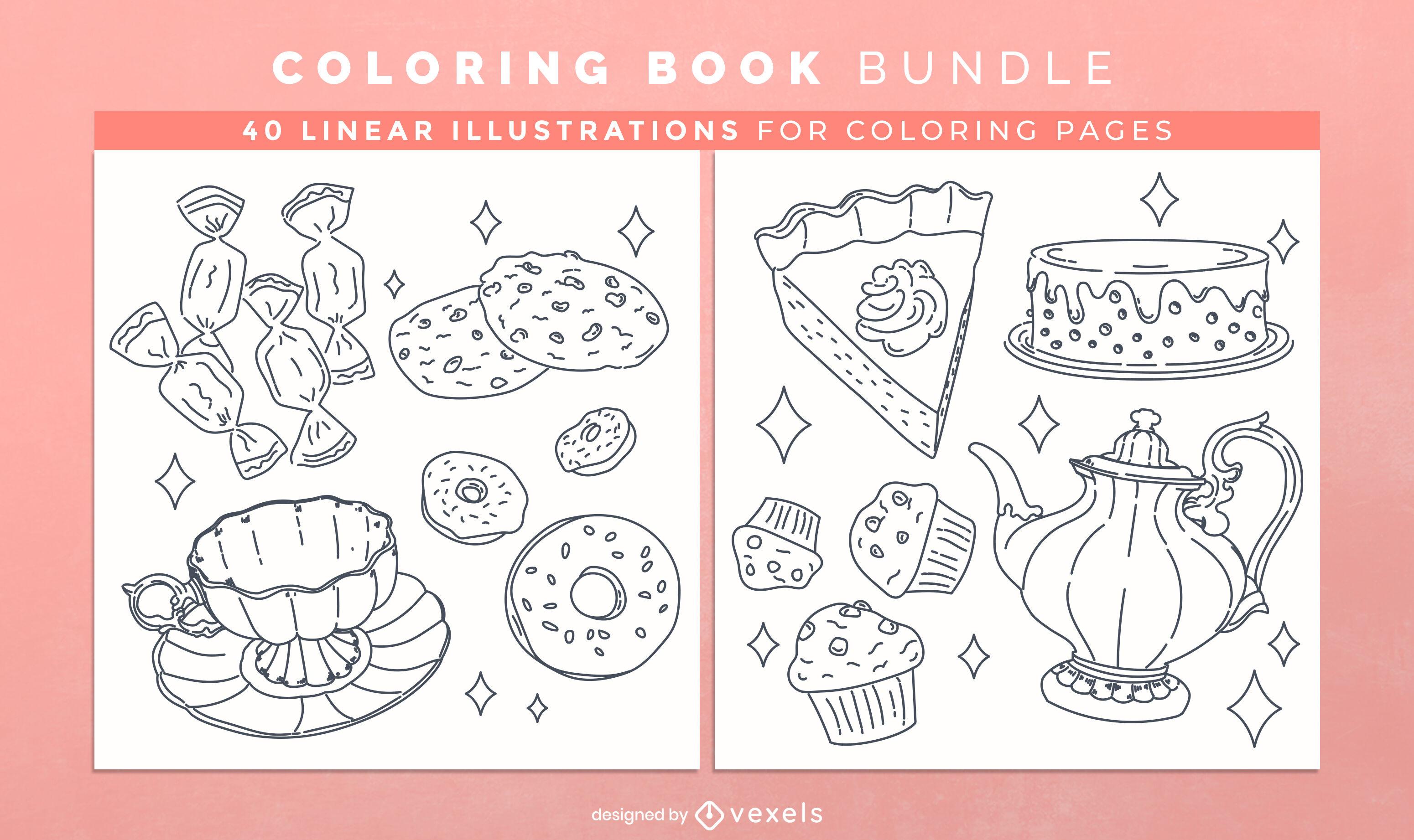 Doces da hora do chá para colorir páginas de design
