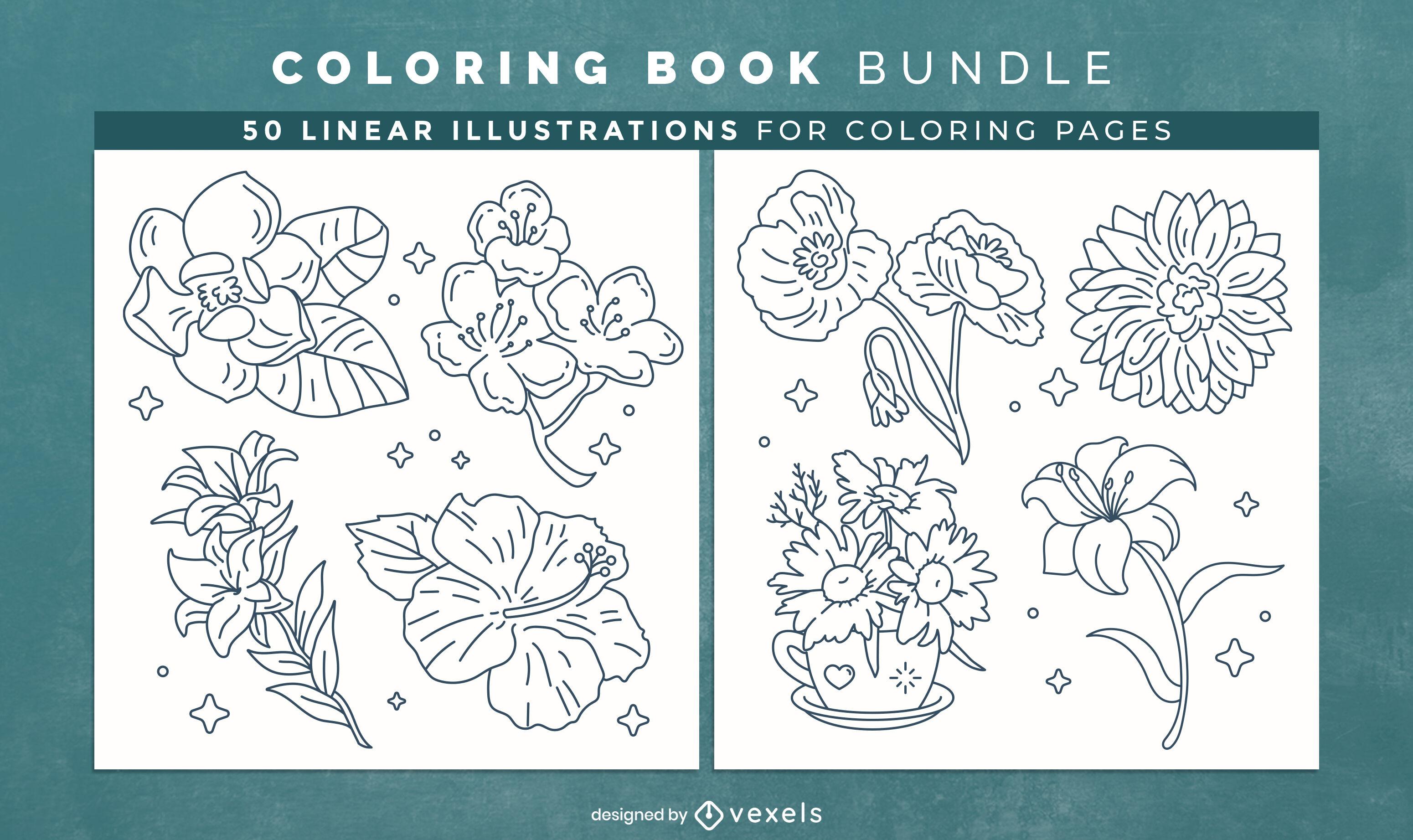 Flores para colorir livro KDP design de interiores