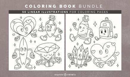 Retro cartoon coloring book pages design