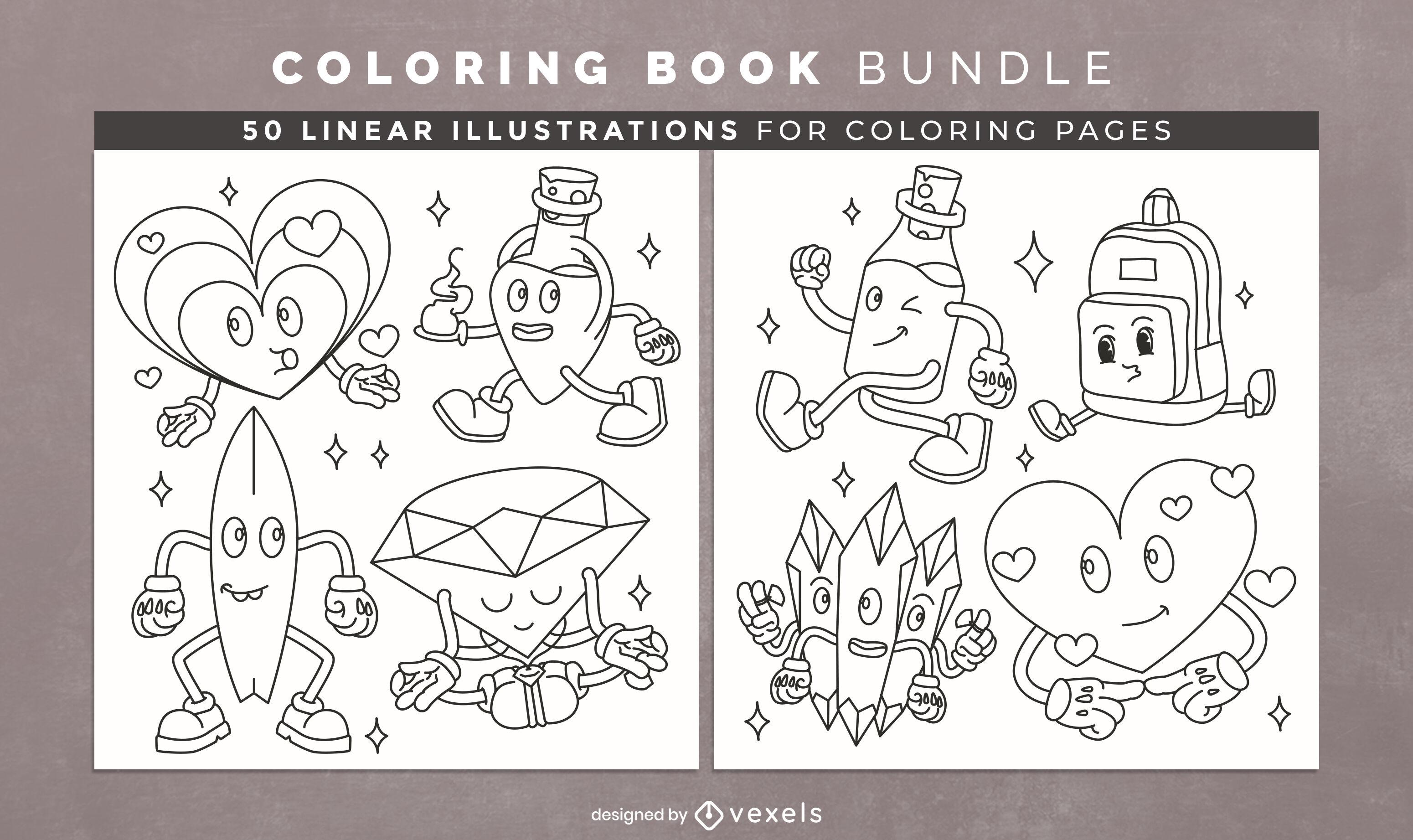 Diseño de páginas de libro para colorear de dibujos animados retro