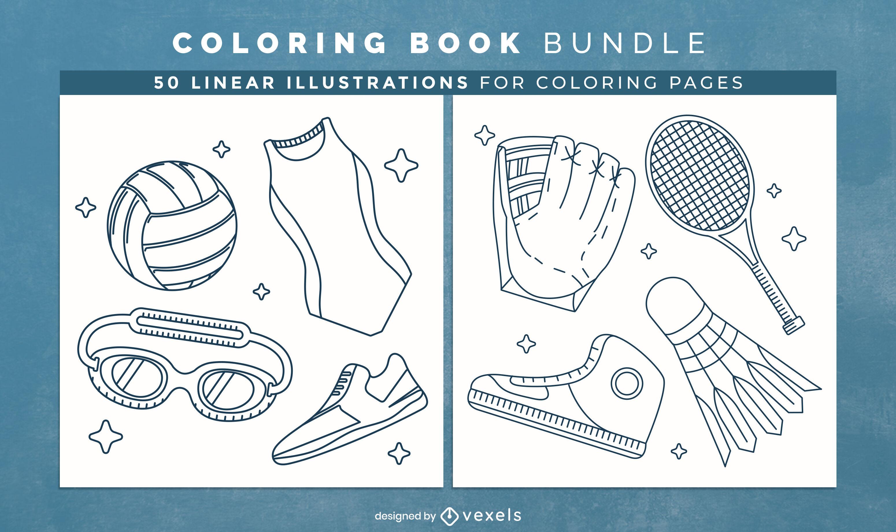 Páginas de design de livro para colorir de elementos esportivos