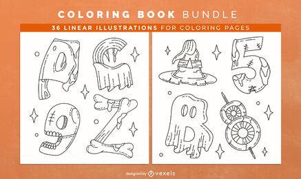 Diseño de interiores de libro de colorear de alfabeto de Halloween