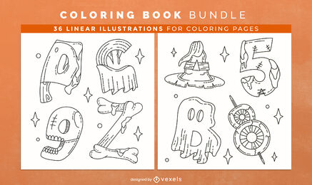 Halloween alphabet coloring book interior design