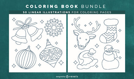Christmas decoration coloring book design pages