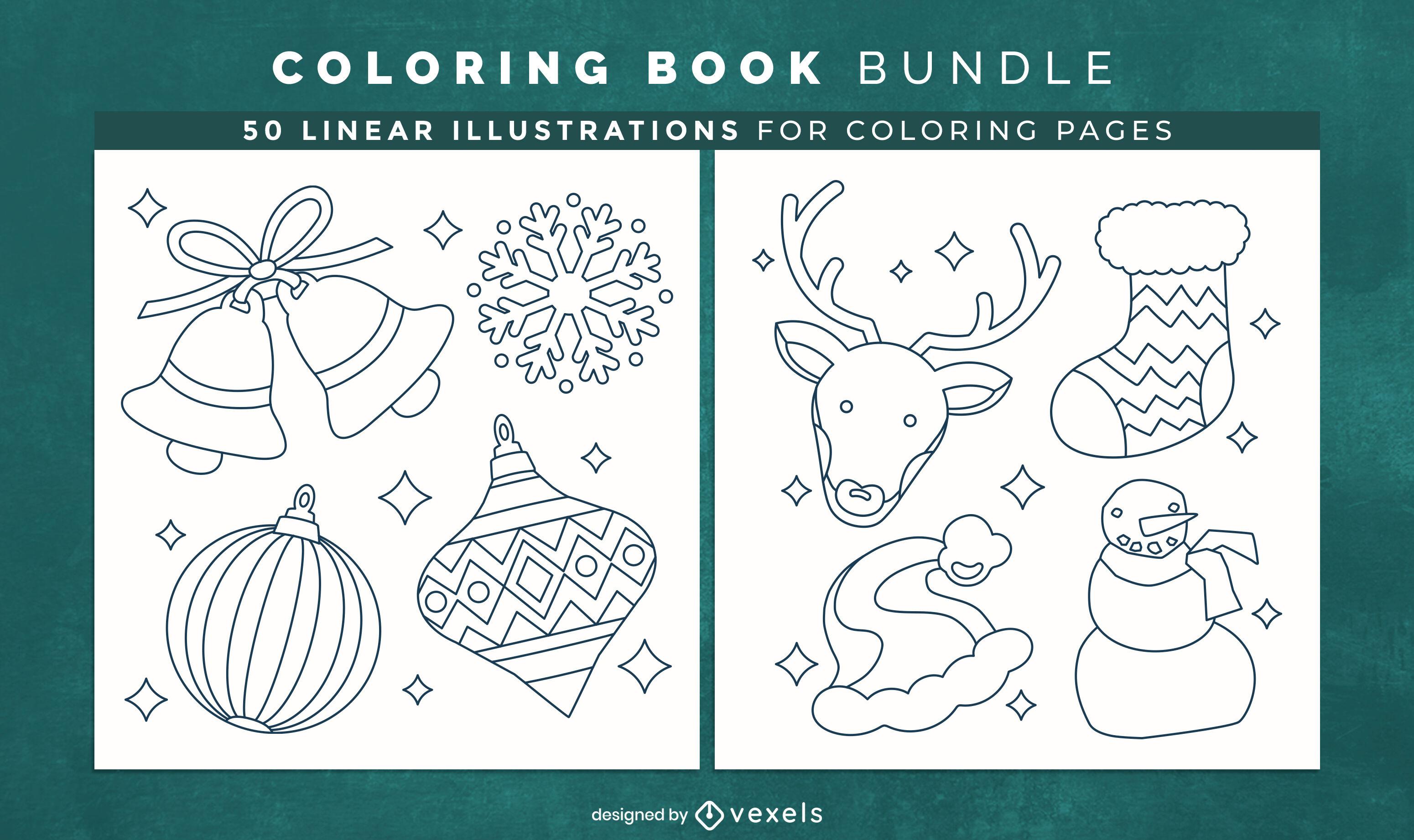 P?ginas de design de livro para colorir de decora??o de Natal