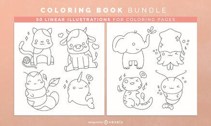 Kawaii animals coloring book pages design
