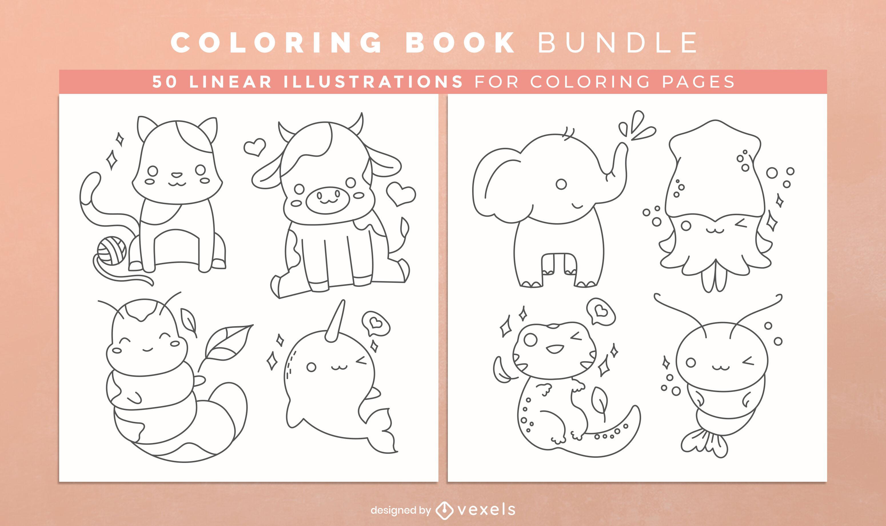 Diseño de páginas de libro para colorear de animales kawaii