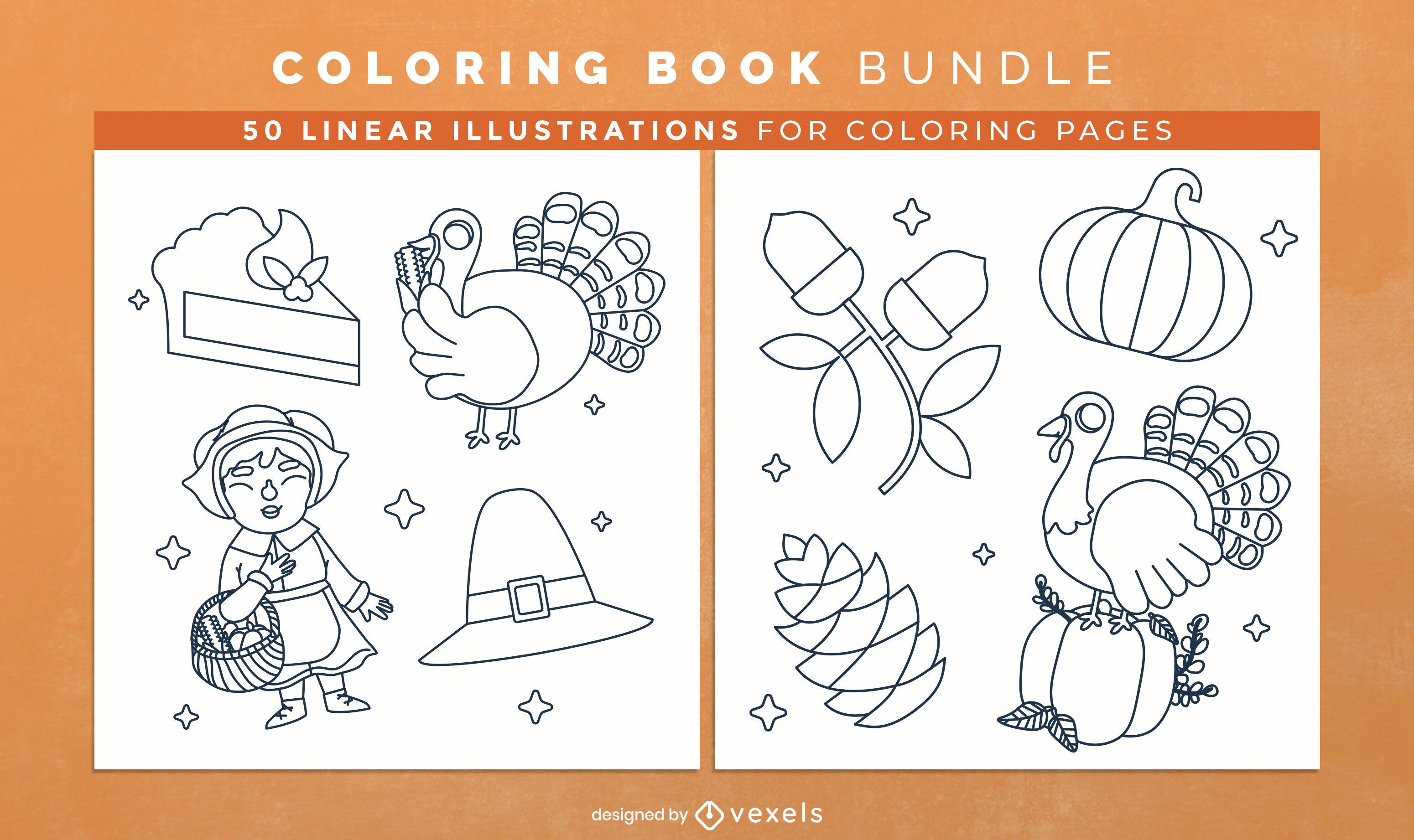 Design de páginas de livro para colorir de elementos de Ação de Graças