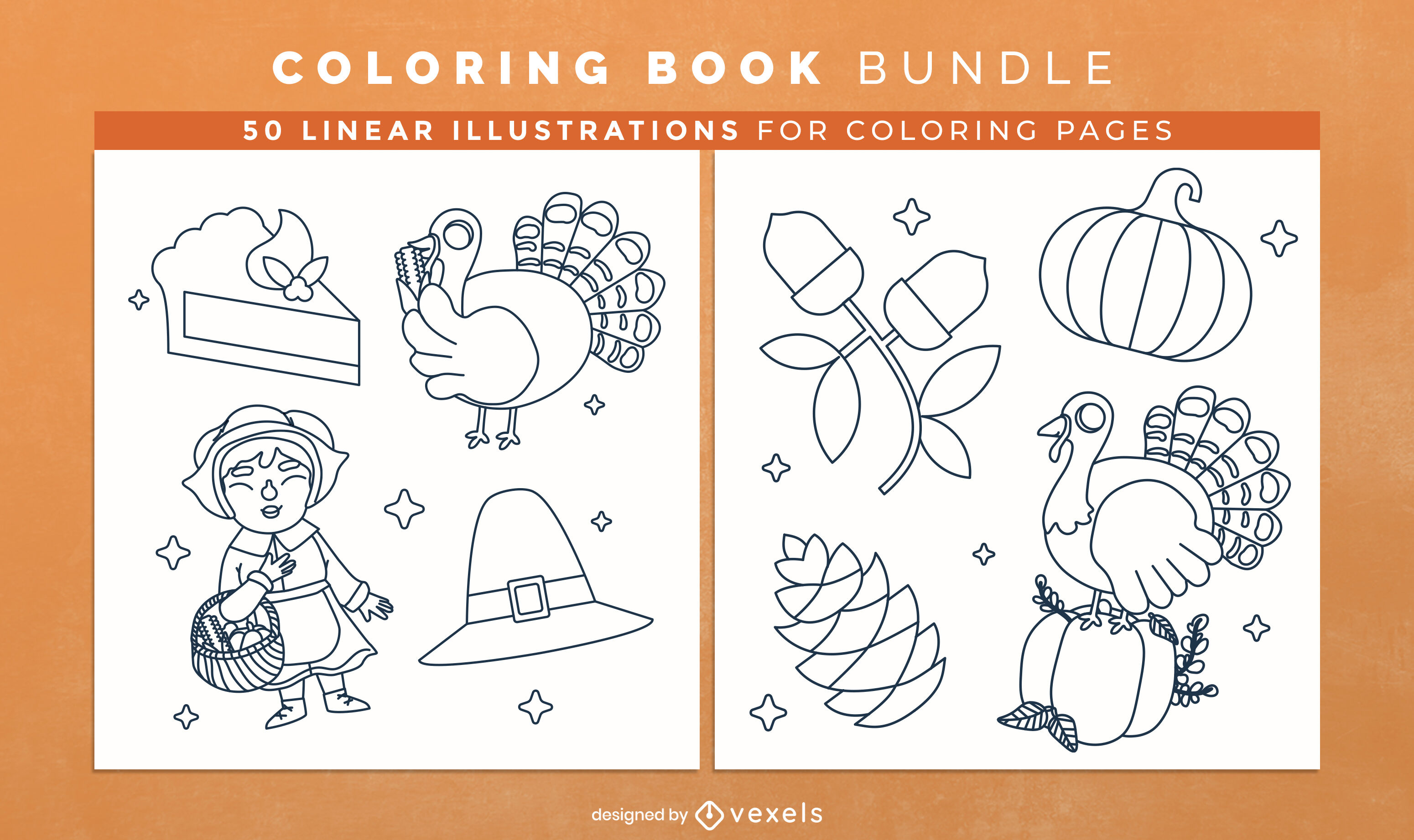 Thanksgiving elements coloring book pages design