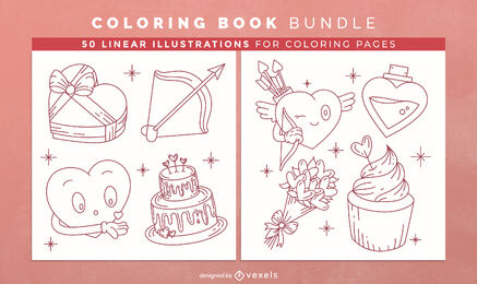 Valentines day coloring book design pages