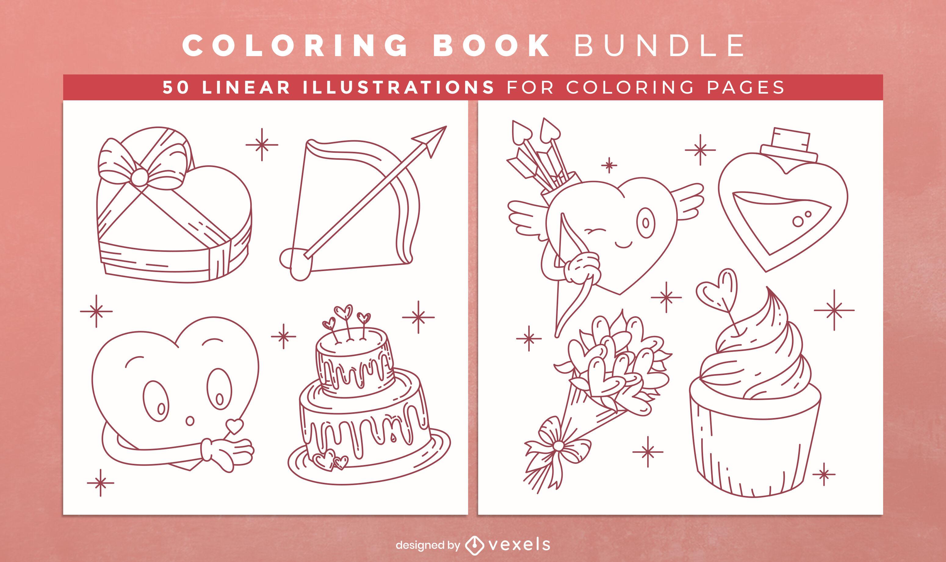 Páginas de desenho de livro para colorir para o dia dos namorados