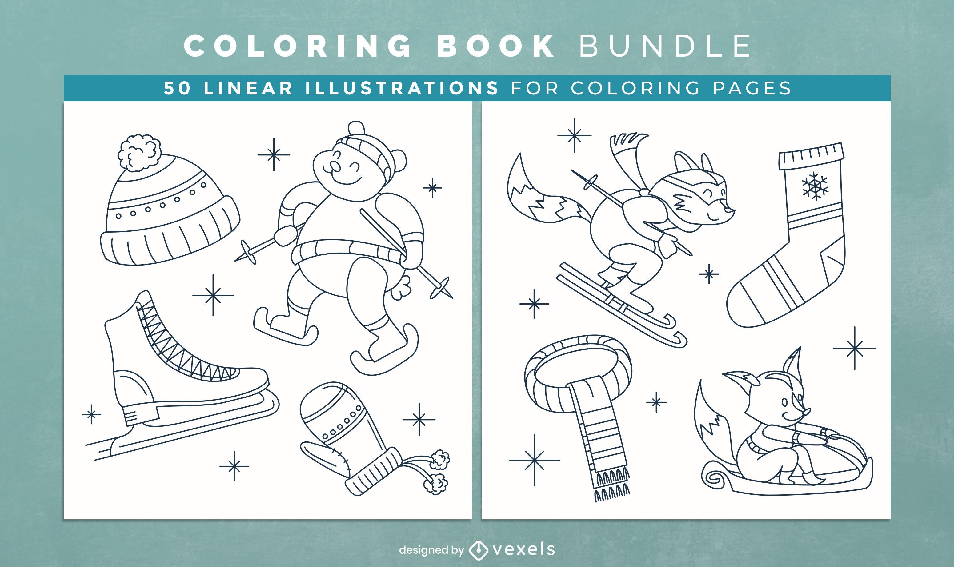 Páginas de desenho de livro para colorir de roupas de inverno