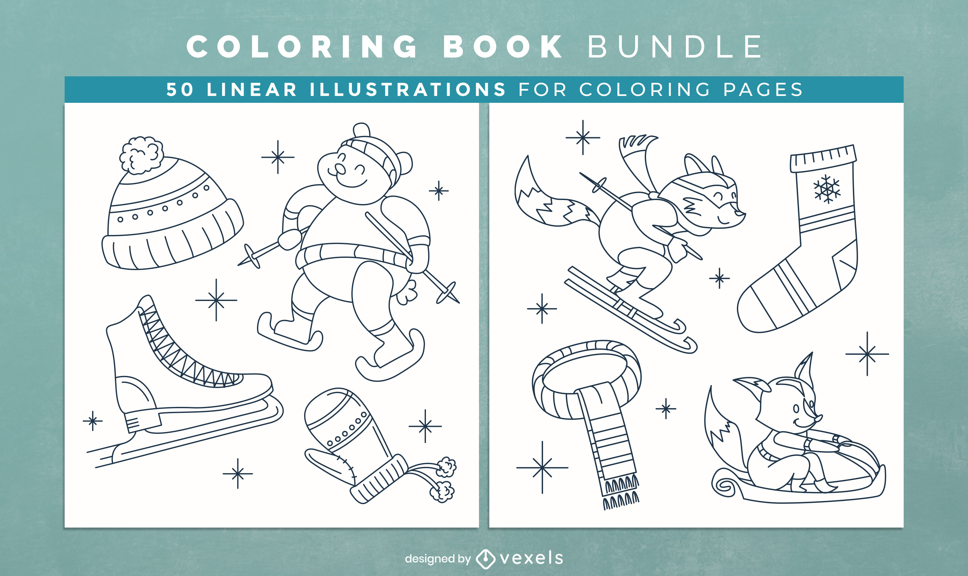 Winter clothes coloring book design pages