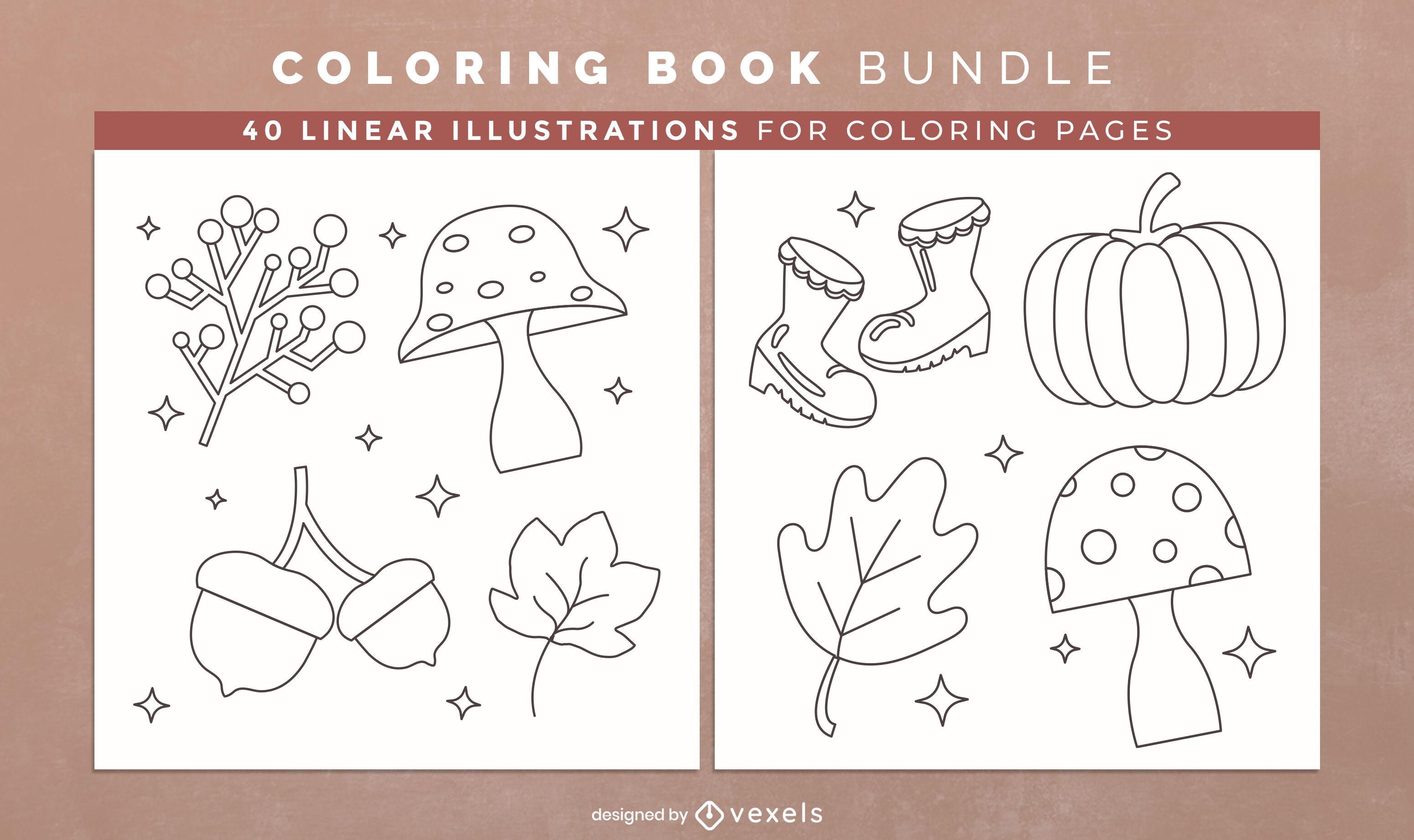 Autumn season coloring book interior design